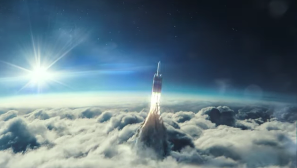 In a still from a US Space Force recruitment video, a rocket resembling the Delta IV Heavy rocket designed by United Launch Alliance blasts through the clouds - Sputnik International