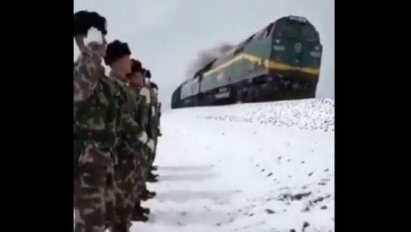A special kind of respect: A group of soldiers patrolling the 138-kilometer Qinghai-Tibet Railway saluted a passing train with the train honking back - Sputnik International
