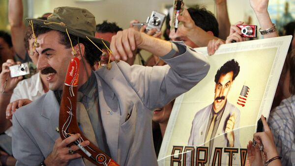 British actor Sacha Baron Cohen, in character as a Kazakh TV reporter known as 'Borat', holds a boomerang as he mingles with fans in Sydney November 13, 2006 during the Australian premiere of his film Borat: Cultural Learnings of America for Make Benefit Glorious Nation of Kazakhstan. - Sputnik International