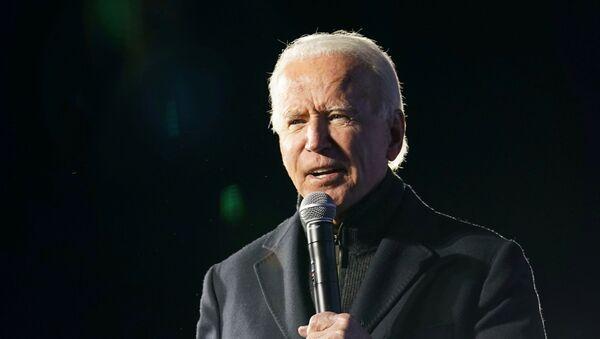 Democratic U.S. presidential nominee and former Vice President Joe Biden speaks during a drive-in campaign rally at Lexington Technology Park in Pittsburgh, Pennsylvania, U.S., November 2, 2020 - Sputnik International