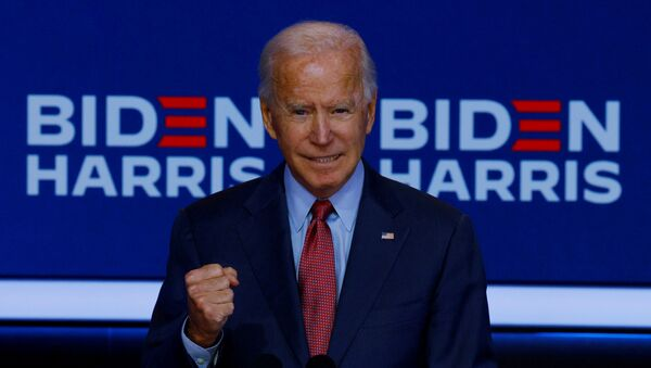 US presidential nominee for the Democrats and former Vice-President Joe Biden makes a statement in Wilmington, Delaware, US, 28 October 2020. - Sputnik International