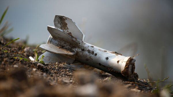 A view shows a fragment of an artillery shell at the fighting positions of ethnic Armenian soldiers on the front line during a military conflict against Azerbaijan's armed forces in the breakaway region of Nagorno-Karabakh, October 20, 2020 - Sputnik International
