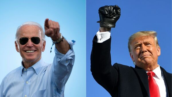 This combination of pictures created on October 30, 2020 shows Democratic Presidential candidate and former US Vice President Joe Biden gestures prior to delivering remarks at a Drive-in event in Coconut Creek, Florida, on October 29, 2020 and US President Donald Trump pumps his fist as he arrives to a campaign rally at Green Bay Austin Straubel International Airport in Green Bay, Wisconsin on October 30, 2020. - President Donald Trump and Democrat Joe Biden fought November 2, 2020 through the eve of an election threatened by legal chaos and fears of violence after Trump, down in the polls and with only hours to go, pushed hard to discredit the US voting process.On Tuesday, the world will witness a country more divided and angry than at any time since the Vietnam War era of the 1970s. - Sputnik International