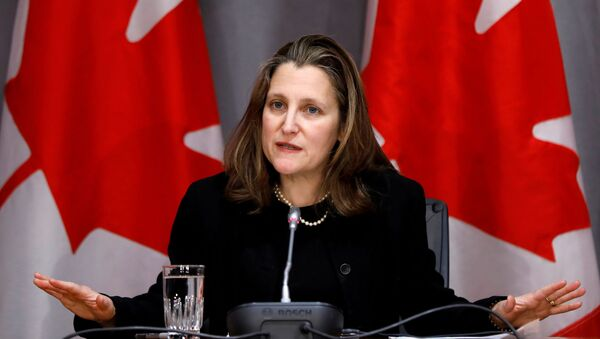 Canada's Deputy Prime Minister Chrystia Freeland attends a news conference on the coronavirus disease (COVID-19) outbreak on Parliament Hill in Ottawa, Ontario, Canada March 19, 2020.  - Sputnik International