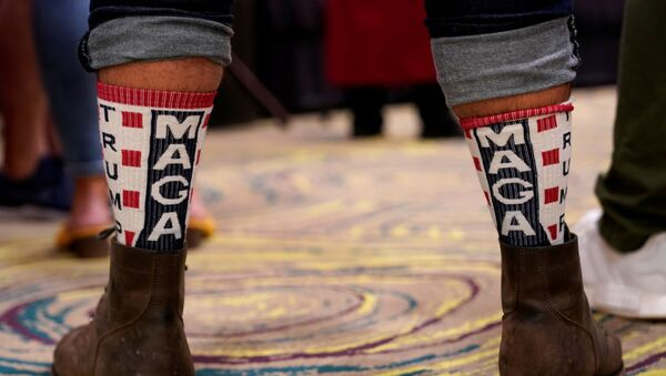 A supporter of U.S. President Donald Trump wears MAGA socks at the Oklahoma GOP watch party for the 2020 U.S. presidential election in Edmond - Sputnik International