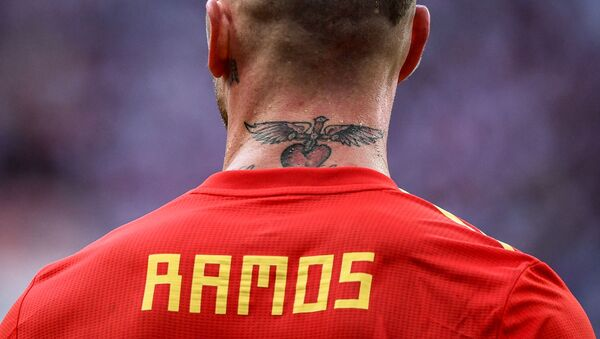 Spain's Sergio Ramos rests during the World Cup Round of 16 football matches between Spain and Russia at the Luzhniki stadium in Moscow, Russia, 1 July 2018. - Sputnik International