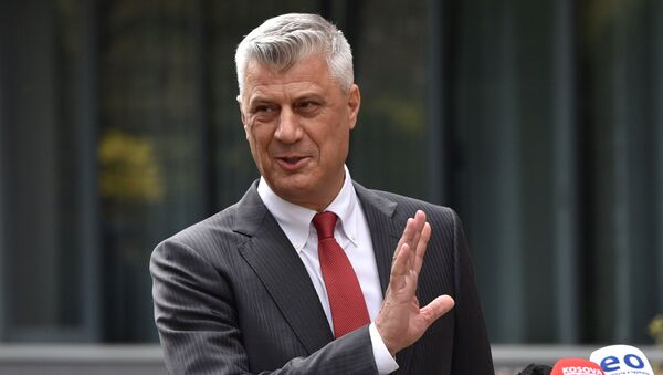 Kosovo's President Hashim Thaci is pictured during a news conference as he resigns to face war crimes charges at international court in Pristina, Kosovo, November 5, 2020 - Sputnik International