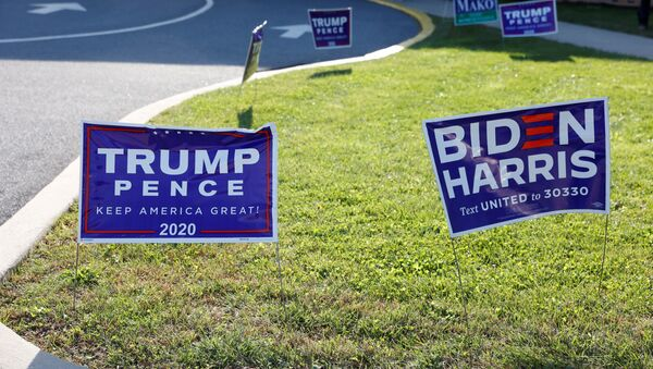 FILE PHOTO: Campaign signs for U.S. President Donald Trump and presidential nominee and former Vice President Joe Biden are seen on Election Day in Cherryville, Pennsylvania, U.S., November 3, 2020 - Sputnik International