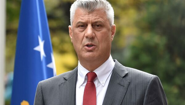 Kosovo's President Hashim Thaci speaks during a news conference as he resigns to face war crimes charges at a special court based in the Hague, in Pristina, Kosovo, November 5, 2020 - Sputnik International