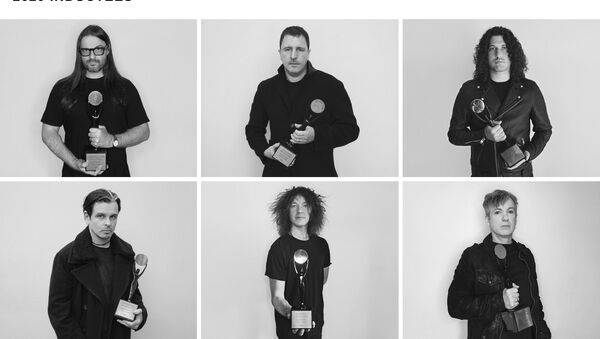 Members of the industrial rock band Nine Inch Nails pose for a promo photo to commemorate their induction into the Rock and Roll Hall of Fame - Sputnik International