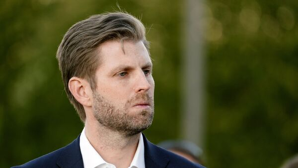 Eric Trump, son of President Donald Trump, listens to Rudy Giuliani, a lawyer for President Trump, speak during a news conference on legal challenges to vote counting in Pennsylvania, Wednesday, Nov. 4, 2020, in Philadelphia. - Sputnik International