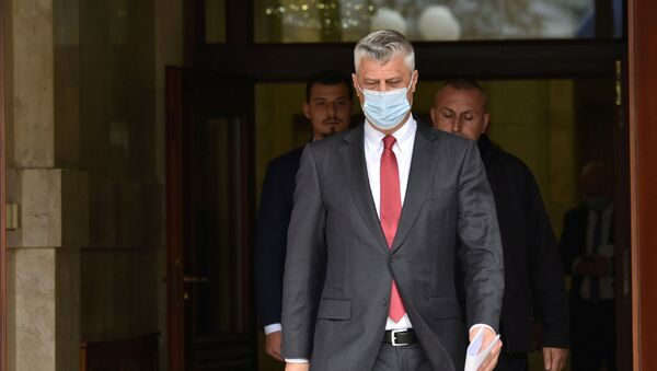 Kosovo's President Hashim Thaci arrives for a news conference as he resigns to face war crimes charges at a special court based in the Hague, in Pristina, Kosovo, November 5, 2020. - Sputnik International