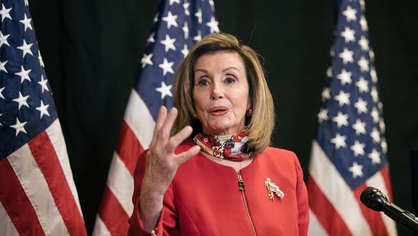 US Speaker of the House Nancy Pelosi (D-CA) talks to reporters about Election Day results in races for the House of Representatives, at Democratic National Committee headquarters on Capitol Hill in Washington, US, 3 November 2020.  - Sputnik International