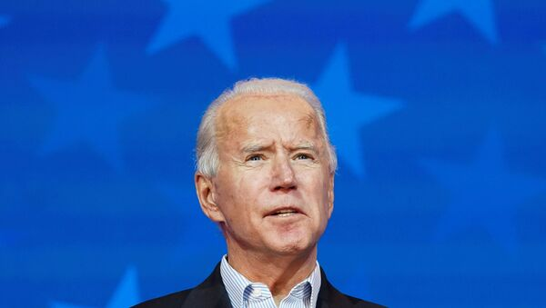 Democratic U.S. presidential nominee Joe Biden makes a statement on the 2020 U.S. presidential election results during a brief appearance before reporters in Wilmington, Delaware, U.S., November 5, 2020. - Sputnik International
