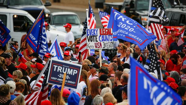 Supporters of U.S. President Donald Trump gather during a protest about the early results of the 2020 presidential election, in front of the Maricopa County Tabulation and Election Center (MCTEC), in Phoenix, Arizona, U.S., November 6, 2020. - Sputnik International