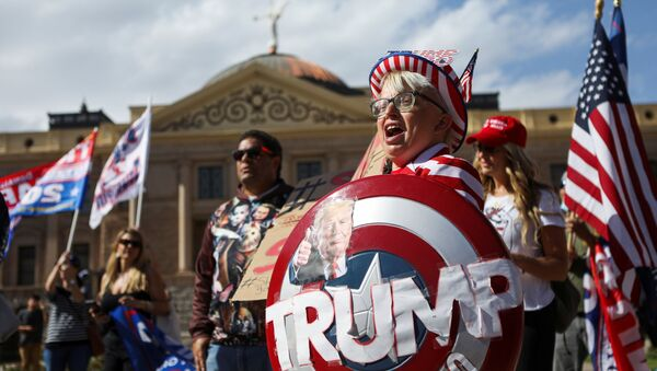 """Supporters of US President Donald Trump gather at a """"Stop the Steal"""" protest after the 2020 US presidential election was called for Democratic candidate Joe Biden, in front of the Arizona State Capitol in Phoenix, Arizona, US, November 7, 2020 - Sputnik International"""