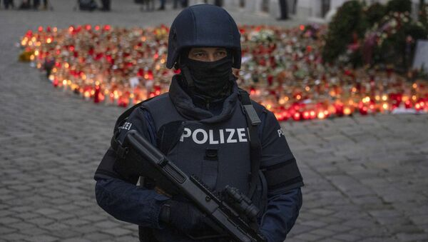 An armed police officer stands guard before the arrival of Austrian Chancellor Kurz and President of the European Council to pay respects to the victims of the recent terrorist attack in Vienna, Austria on November 9,2020. - Sputnik International