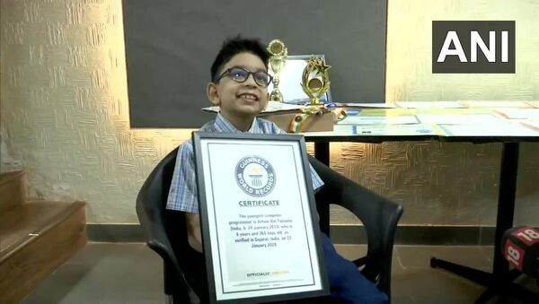Gujarat: Arham Om Talsania, a Class 2 student from Ahmedabad, created Guinness World Record as World's Youngest Computer Programmer by clearing Python programming language exam at the age of six - Sputnik International