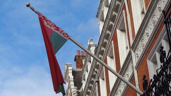Flag of Belarus, Embassy of Belarus, Kensington Court, London - Sputnik International