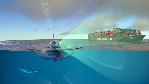 An artist's conception of how the Ocean of Things drifting sensor being built by DARPA and the CMRE would passively monitor ocean activity and transmit its data to the cloud via satellite - Sputnik International