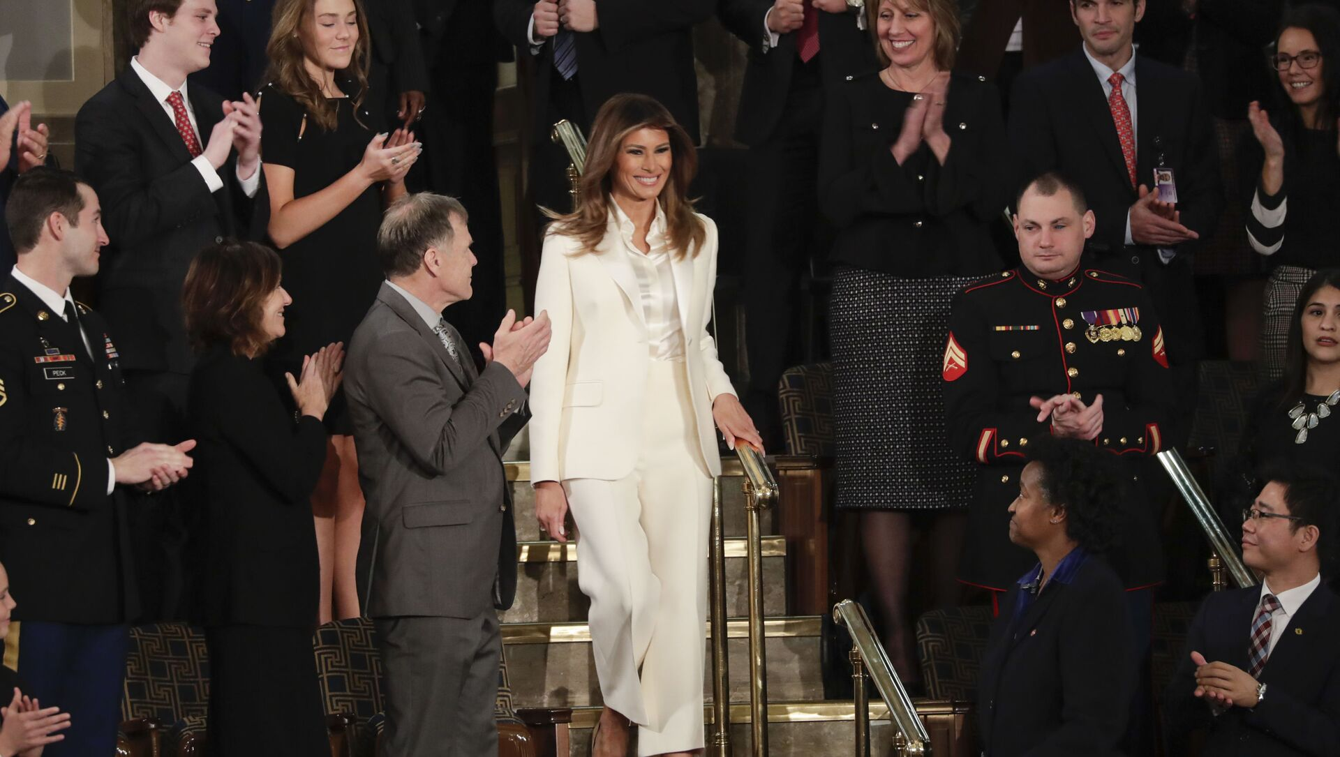 First lady Melania Trump arrives before the State of the Union address to a joint session of Congress on Capitol Hill in Washington, Tuesday, Jan. 30, 2018.  - Sputnik International, 1920, 01.03.2021