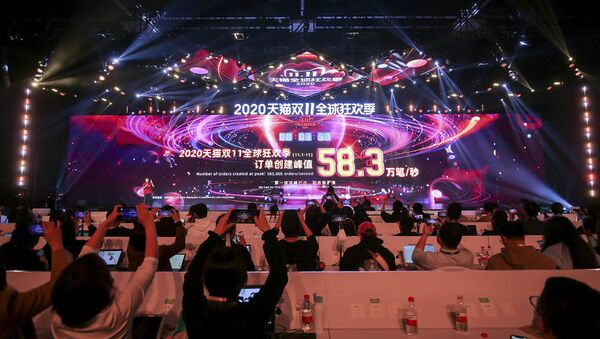 A screen shows sales information during the 2020 Tmall Global Shopping Festival on Singles' Day, also known as the Double 11 shopping festival, at a media centre in Hangzhou, in eastern China's Zhejiang province on 11 November 2020. - Sputnik International