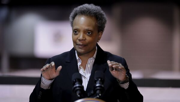 File-In this April 10, 2020 file photo Chicago Mayor Lori Lightfoot speaks during a news conference in Hall A at the COVID-19 alternate site at McCormick Place in Chicago. - Sputnik International