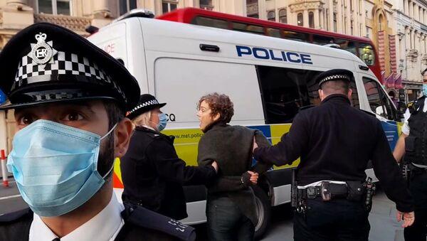 Police take Assange supporter to van - Sputnik International