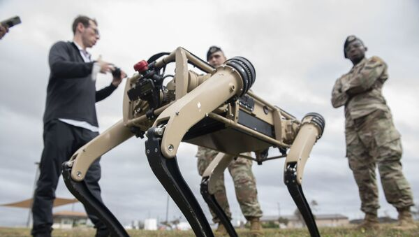 An unmanned ground vehicle is tested at Tyndall Air Force Base, Florida, Nov. 10, 2020. Tyndall is one of the first military bases to implement the semi-autonomous UGV's into their defense regiment, they will aid in reconnaissance and enhanced security patrolling operations across the base.  - Sputnik International