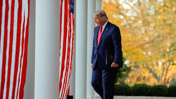 U.S. President Donald Trump walks down the West Wing colonnade from the Oval Office to the Rose Garden to deliver an update on the so-called Operation Warp Speed program, the joint Defense Department and HHS initiative that has struck deals with several drugmakers in an effort to help speed up the search for effective treatments for the ongoing coronavirus disease (COVID-19) pandemic, at the White House in Washington, U.S., November 13, 2020.  - Sputnik International