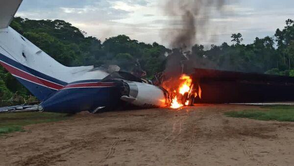 A US-registered Gulfstream II jet used for drug-trafficking destroyed by Venezuela's Bolivarian National Guard in Catatumbo, Zulia state, November 15 2020 - Sputnik International