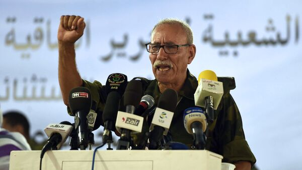 Brahim Ghali, newly elected Polisario secretary general and president of the self-proclaimed Sahrawi Arabic Democratic Republic, delivers a speech during the PF's extraordinary congress on July 9, 2016 at the Sahrawi refugee camp of Dakhla - Sputnik International