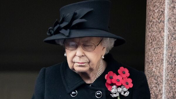 Britain's Queen Elizabeth attends the National Service of Remembrance at The Cenotaph on Whitehall in London, Britain November 8, 2020. - Sputnik International