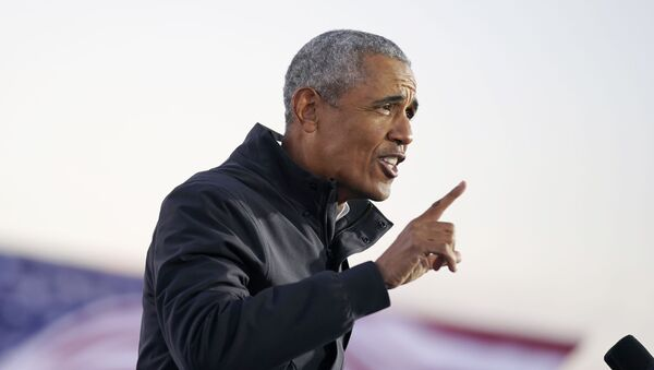 Former President Barack Obama speaks at a rally at Belle Isle Casino in Detroit, Mich., Saturday, Oct. 31, 2020, also attended by Democratic presidential candidate former Vice President Joe Biden - Sputnik International