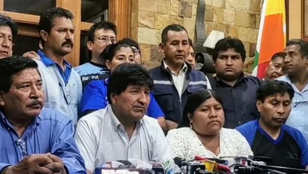 Former Bolivian president Evo Morales with leaders of his MAS-IPSP party and social movements on Tuesday November 17 2020 - Sputnik International