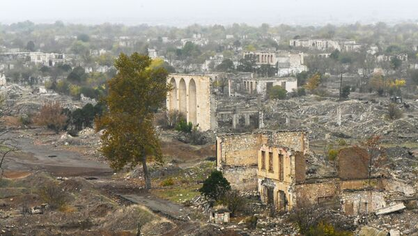 The view shows the destroyed part of the city of Aghdam, the self-proclaimed Nagorno-Karabakh Republic. The city was almost completely destroyed during the fighting in the early 90's. According to the ceasefire agreement in Nagorno-Karabakh, the Agdam region must be transferred to the Republic of Azerbaijan by November 20, 2020 - Sputnik International