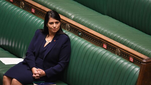 A handout photograph released by the UK Parliament shows Britain's Home Secretary Priti Patel listening as Britain's Prime Minister Boris Johnson speaks in the House of Commons in London on November 2, 2020 - Sputnik International