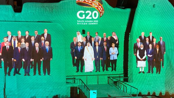 Family Photo for annual G20 Summit World Leaders is projected onto Salwa Palace in At-Turaif, one of Saudi Arabia?s UNESCO World Heritage sites, in Diriyah, Saudi Arabia, 20 November 2020 - Sputnik International