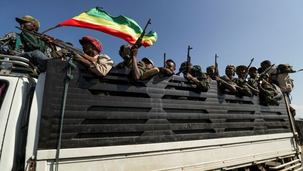 Members of Amhara region militias ride on their truck as they head to face the Tigray People's Liberation Front (TPLF), in Sanja, Amhara region near the border with Tigray, Ethiopia, 9 November 2020 - Sputnik International