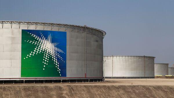 A view shows branded oil tanks at Saudi Aramco oil facility in Abqaiq, Saudi Arabia October 12, 2019. - Sputnik International