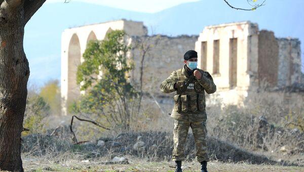 A military police officer in Agdam. File photo - Sputnik International