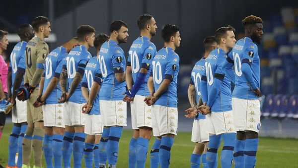 Soccer Football - Europa League - Group F - Napoli v HNK Rijeka - Stadio San Paolo, Naples, Italy 26 November 2020 - General view as Napoli players line up wearing shirts with Diego Maradona's name on the back before the match. - Sputnik International