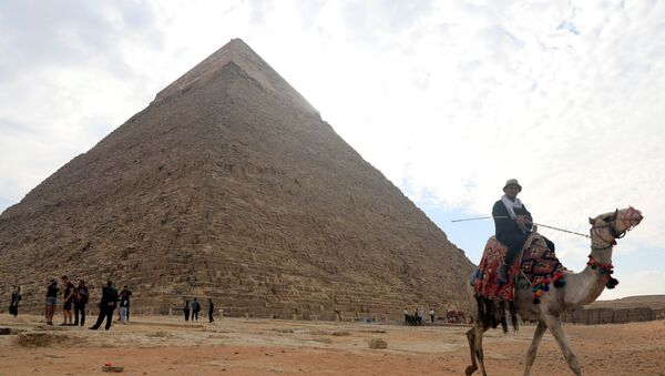 A camel guide waits for customers next to the pyramid of Khafre or Chefren at the Giza pyramids plateau in Giza, Egypt, 15 November 2020 - Sputnik International