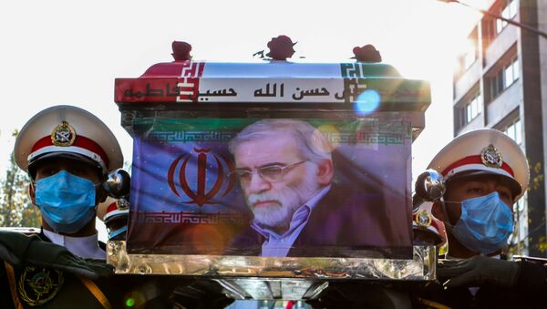 Members of Iranian forces carry the coffin of Iranian nuclear scientist Mohsen Fakhrizadeh during a funeral ceremony in Tehran, Iran November 30, 2020 - Sputnik International