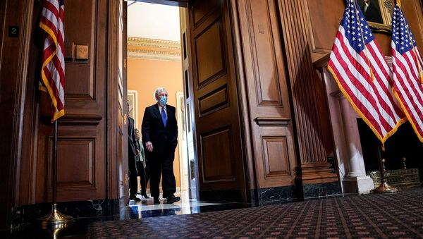 U.S. Senate Majority Leader Mitch McConnell (R-KY) arrives to face reporters as Senate Republican leaders hold a news conference on Capitol Hill in Washington, U.S., December 1, 2020 - Sputnik International