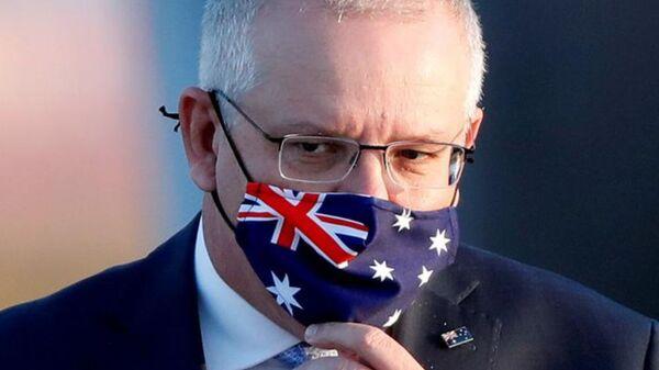Australian Prime Minister Scott Morrison arrives at Haneda airport in Tokyo, Japan, November 17, 2020. - Sputnik International