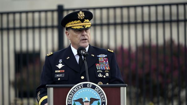 Chairman of the Joint Chiefs Gen. Mark Milley speaks during a ceremony at the National 9/11 Pentagon Memorial to honor the 184 people killed in the 2001 terrorist attack on the Pentagon, in Washington, Friday Sept. 11, 2020 - Sputnik International