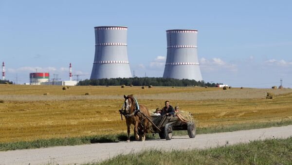 A man in a horse drawn carriage travels on a road, with Belarus's first nuclear plant which was built by Russia's state nuclear corporation Rosatom in the background near Astravets, Belarus, Friday, Aug. 7, 2020 - Sputnik International