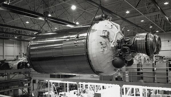 A Centaur second-stage rocket being assembled and readied at a General Dynamics factory for launch, November 8, 1962 - Sputnik International