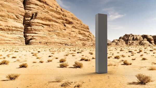 An art work be artist group The Most Famous Artist, titled 'Early Concept Art — August 2020', showing a render of the monolith in the desert - Sputnik International